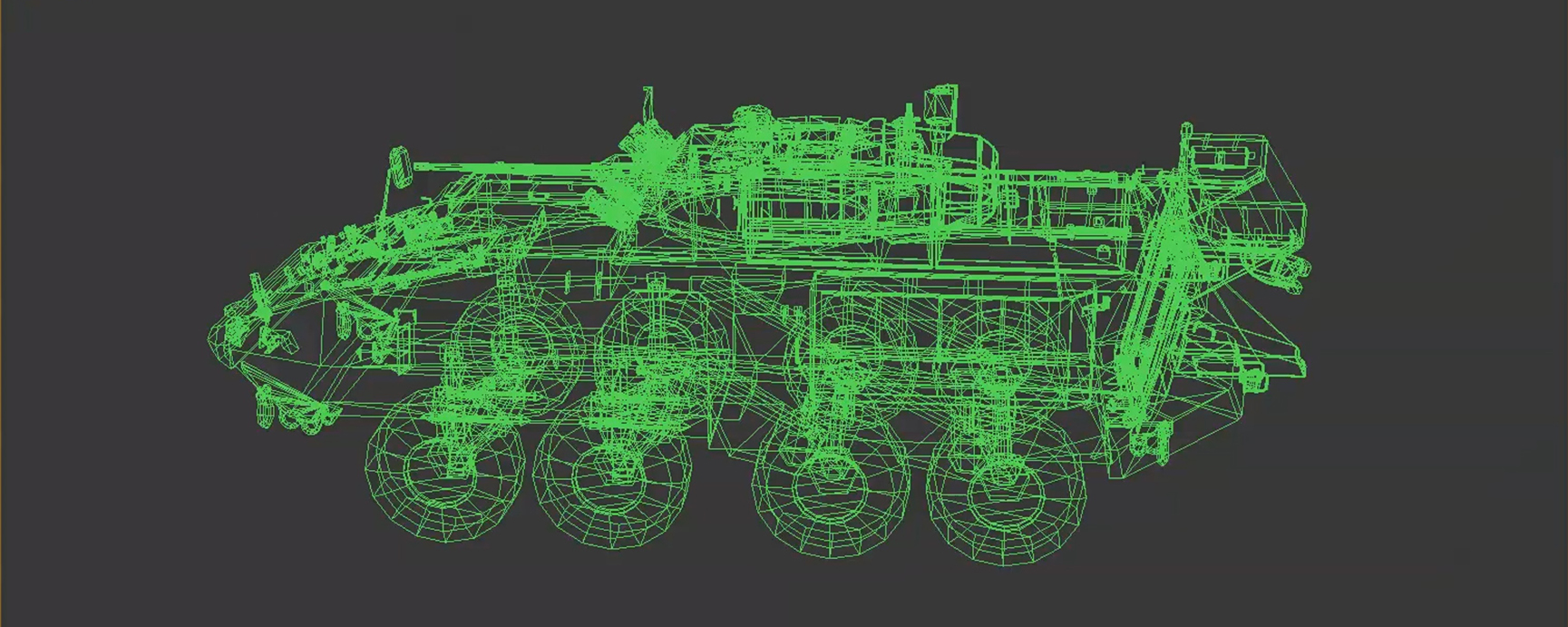 Image of a computer screen displaying a green three-dimensional image of a Light Armoured Vehicle.